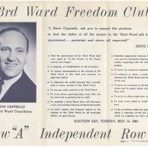Image of Digital images of political brochure for Steve Cappiello running for Third Ward Councilman, Hoboken, 1963. - Pamphlet
