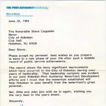 Image of Digital image of letter to Steve Cappiello from Phil La Rocco, Director, Economic Development, The Port Authority of N.Y. & N.J., June 28, 1985. - Letter