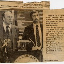 Image of Digital image of newsclipping with photo of Mayor Steve Cappiello & Carl Jordan, U.S. Small Business Administration, Hoboken, March 7, [1985]. - Newspaper