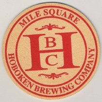 Image of Bar beer coaster: Mile Square; Hoboken Brewing Company, Hoboken, no date, ca. 1995. - Coaster