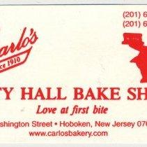 Image of Business card: Carlo's City Hall Bake Shop, 95 Washington St., Hoboken, (2006). - Card, Trade