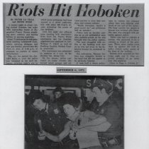 "Image of B+W prints of photo of ""Rioter Subdued"" & article from Hudson Dispatch, Sept. 6, 1971. - Print, Photographic"