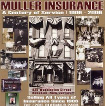 Image of Digital color print of advertising poster for 100th anniversary of Muller Insurance Hoboken. - Print