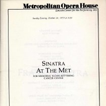 Image of Program: Sinatra at the Met. [Benefit] for Memorial Sloan-Kettering Cancer Center. Metropolitan Opera House, Lincoln Center, Oct. 28, 1979. - Program