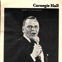 Image of Program: Frank Sinatra with the George Shearing Quintet. Carnegie Hall, N.Y. September 8-20, 1981 - Program