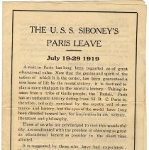 Image of Pamphlet: The U.S.S. Siboney's Paris Leave. July 19-29, 1919. With: promotional flyer for Pantheon of the War, Paris, no date, (1919). - Pamphlet
