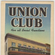 Image of Brochure for the Union Club, 6th and Hudson Sts, Hoboken, no date, ca. 1950. - Brochure