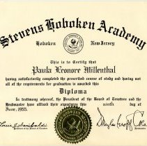 Image of Digital image of graduation diploma of Paula Millenthal (Cantor) from Stevens Hoboken Academy, Hoboken, June 9, 1955. - Diploma