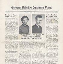 Image of Digital images of Stevens Hoboken Academy Focus, Hoboken, June, 1955. Volume XX, No. 1. - Newspaper