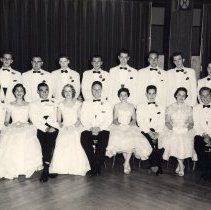 Image of Digital image of B+W group photo of members of the Class of 1955 in formal wear, Stevens Hoboken Academy, Union Club, Hoboken, June 9, 1955. - Print, Photographic