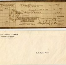 Image of Digital image of photostatic copy of Stevens Hoboken Academy check of $12.50 to Paula Leonore Millenthal, June 8, 1955 as the B.F. Carter Award. - Check, Bank