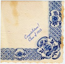"Image of Digital image of paper napkin imprinted ""Congratulations! Class of 1955"" from a reception for class, Stevens Hoboken Academy, probably June, 1955. - Souvenir, Paper"