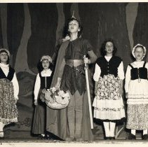 "Image of Digital image of 2 B+W photos of Spring Operetta, ""Robin Hood,"" at Stevens Hoboken Academy, Hoboken, Spring 1949. - Print, Photographic"