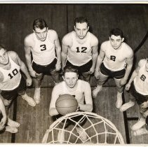 Image of Digital image of B+W photo of 1954-1955 varsity basketball team, Stevens Hoboken Academy, Hoboken, no date, 1954-1955. - Print, Photographic