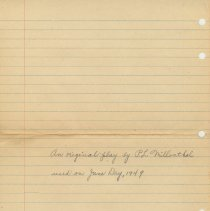 Image of Digital images of pencil manuscript of an original play written by Paula Millenthal and used on June Day 1949, Stevens Hoboken Academy, Hoboken, June 15, 1949.. - Manuscript