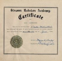 Image of Digital image of certificate awarded to Paula Millenthal for penmanship on June Day 1948, Stevens Hoboken Academy, Hoboken, June 17, 1948. - Certificate, Achievement