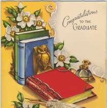 Image of Digital images of over 50 greeting cards and related items received by Paula Millenthal for her graduation from Stevens Hoboken Academy, June 1955. - Card, Greeting