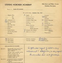 Image of Digital images of six dated formal grade reports to parents for Paula Millenthal, seventh grade, Stevens Hoboken Academy, Hoboken, 1949-1950. - Card, Report