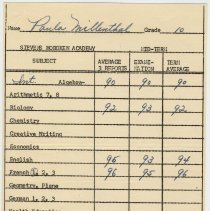Image of grade record Feb. 1953