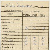 Image of grade record Feb. 1954