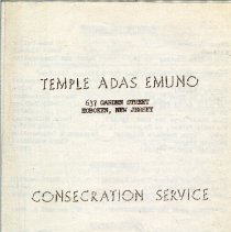 Image of Digital images of program, Consecration Service, Temple Adas Emuno Friday, May 23, 1947. - Program