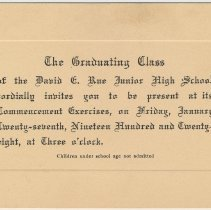 Image of Invitation: Commencement Exercises of David E. Rue Junior High School, Hoboken, June 26, 1929. - Invitation