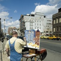 Image of Color photos, 19, of Chris Kappmeier painting the new taxi stand, Hoboken, April 13, 2006. - Photograph