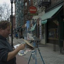 Image of Color photos, 11, of artist Frank Hanavan working on a painting of Giorgio's, Hoboken, April 12, 2006. - Photograph