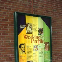 Image of Color photo of Working People marquee sign in Hoboken Historical Museum walkway, Hoboken, August 6, 2006. - Photograph