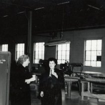 Image of Digital image of B+W photograph of Francis Gallo (right) & another women inside fur goods factory, Fourth & Madison Sts., Hoboken, no date, ca. 1950's. - Photograph