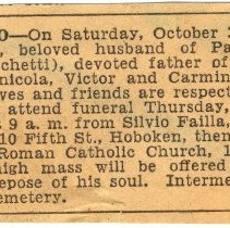 Image of Digital image of death notice and funeral services for Raffaele Gallo [of 509 Monroe St.], Hoboken, Saturday, October 30, 1948. - Newspaper