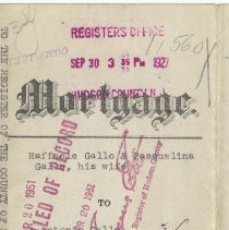 Image of Digital images of Oct. 1, 1927 mortgage by Raffaele and Pasqualina Gallo to Antonio Gallo for lot no. 5 and part of lot no. 6 in block 67 on Monroe Street.  - Mortgage