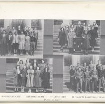 Image of pg 56 photos: senior play cast; debating team; Theatre Club, JV Basketball