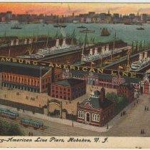Image of Postcard: The Hamburg-American Line Piers, Hoboken, N.J., postmarked March 10, 1910. - Postcard