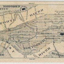 Image of back: map showing Hoboken & Busch's Hotel at top