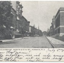 Image of Postcard: Hudson St. North of 5th St., Hoboken, N.J. Text date of 1908; not posted. - Postcard