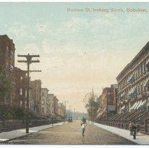 Image of Postcard: Hudson St. Looking South, Hoboken, N.J. Postmarked Hoboken June 25, 1910. - Postcard