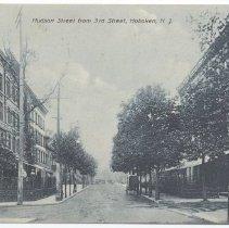 Image of Postcard: Hudson Street from 3rd Street, Hoboken, N.J. Postmarked March 29, 1910. - Postcard