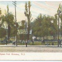 Image of Postcard: Hudson Square Park, Hoboken, N.J. 554. No date, circa 1907-1914; unposted. - Postcard