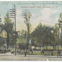 Image of Postcard: Hudson Square Park, Hoboken, N.J. Postmarked Aug. 13, 1907. - Postcard