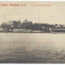 Image of Postcard: Stevens Castle, Hoboken, N.J.; as seen from Hudson River. Postmarked May 11, 1906. - Postcard