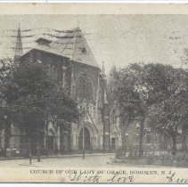 Image of Postcard: 4388 Church of Our Lady of Grace, Hoboken, N.J. Published by C. Wolff. Postmarked Aug. 23, 1908. - Postcard