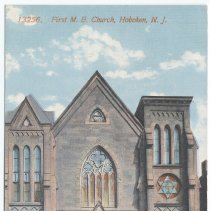 Image of Postcard: 13256. First M. E. Church, Hoboken, N.J. No date, circa 1907-1914; unposted. - Postcard