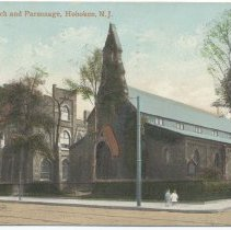 Image of Postcard: Trinity Church and Parsonage, Hoboken, N.J. Postmarked Oct. 5, 1911. - Postcard