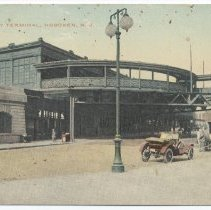 Image of Postcard: New Trolley Terminal, Hoboken, N.J. No date, circa 1910-1914; unposted. - Postcard