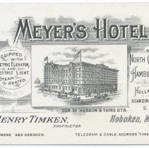 Image of Trade card: Meyer's Hotel, Corner of Hudson and Third Streets. No date, circa 1900-1910. - Card, Trade