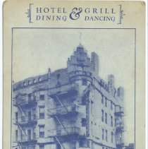 Image of Postcard: Hotel & Grill. Dining & Dancing. Continental Hotel, 101 Hudson Street, Hoboken, N.J. No date, circa 1925-1935; unposted. - Postcard