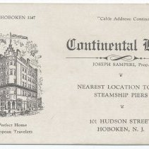 Image of Trade card: Continental Hotel, Joseph Samperi, Prop., 101 Hudson Street, Hoboken, N.J. No date, circa 1925-1929. - Card, Trade