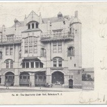 Image of Postcard: No. 10 - The Quartette (sic - Quartett) Club Hall, Hoboken, N.J. Postmarked Sept. 2, 1905. - Postcard