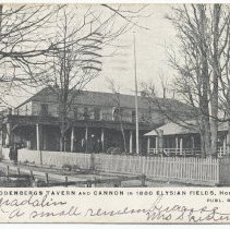 Image of Postcard: 4161. Rodenberg's Tavern and Cannon in 1880 Elysian Fields, Hoboken, N.J. Published by E.F. Walter. Postmarked May 23, 1907. - Postcard